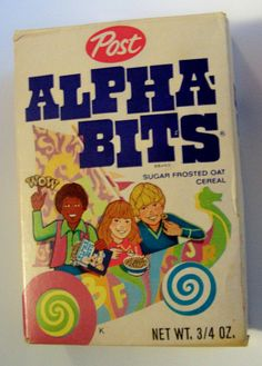 Post Alpha-Bits (early single-serve box)This was my Favorite Cereal growing up School Memories, My Childhood Memories, Childhood Toys, Sweet Memories, 1970s Childhood, Those Were The Days, The Good Old Days, Cartoon Photo, 80s Kids
