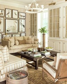 Mark D Sikes Southern Living Showhouse beautiful living room in beige, cream and white ornis gallery for prints Beige Living Rooms, Coastal Living Rooms, Living Room Decor, Dining Room, Southern Living Homes, Country Style Homes, Southern Style, Coastal Style, Home And Deco