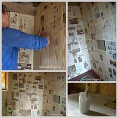 Sanomalehdellä tapetointi #huussi #outhouse