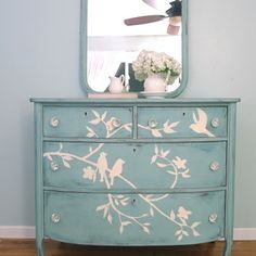 yellow chalk paint furniture | Antique dresser painted with light blue chalk paint and and a bird and ...