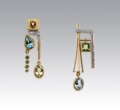 18KT YELLOW GOLD CITRINE DIAMOND BLUE TOPAZ YELLOW DIAMOND BERYL PERIDOT PADPARASHA SAPPHIRE by Janis Kerman Design