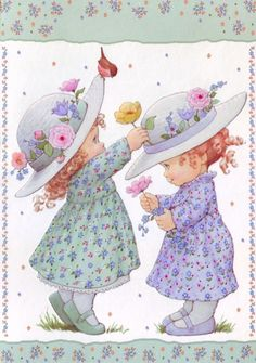 ❤️S i s t e r s ~ Artist Ruth Morehead Holly Hobbie, Illustration Mignonne, Cute Illustration, Cute Images, Cute Pictures, Adorable Petite Fille, Vintage Pictures, Vintage Cards, Cute Drawings