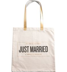 Adoring this tote that lets everyone know you're recently married.