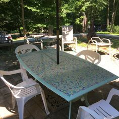 The Glass In The Patio Table Broke. We Replaced It With Plywood, Painted The