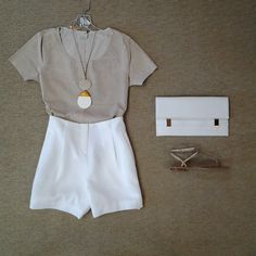effiesinc #Lookoftheday!!! @ecrustyle perforated suede tee, ceramic and rock leather cord pendant, @badgleymischka white high waisted shorts, white handled clutch with gold treatment, and Pella Moda gold rope sandal. #stayingnuetral #waistedeffort #aboutalook #ootd 2mon Read more at http://websta.me/n/effiesinc#ePjdu7gk8WpuqpvF.99