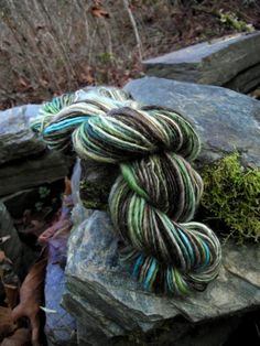 Handspun yarn, handpainted thick and thin hand dyed BFL wool yarn, multiple skeins available-HITHAEGLIR