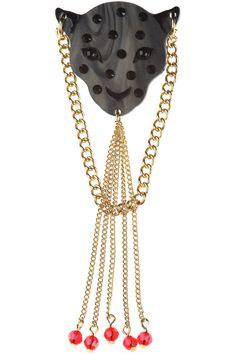 Leopard Head Small Brooch black pearl