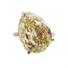 Pear Shape Fancy Yellow Diamond Ring