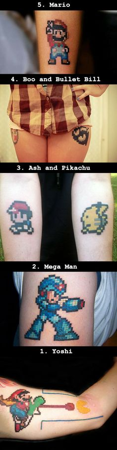 We have rounded up some of the coolest and geekiest pixel art tattoos that look to be straight from video games.