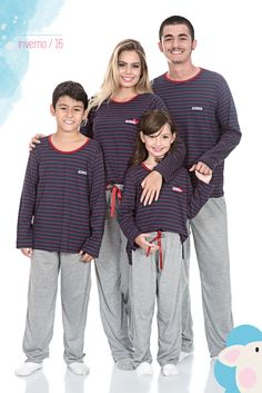 Pijama família, pijama longo, pijama infantil, Tribo do Sono, feminino.