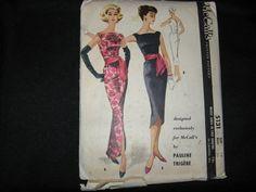 1950s Vintage McCalls 5131 Pauline Trigere Evening Dress Pattern Deep V Sz16/36 H5 sold 9/2/13 for 39.99 complete