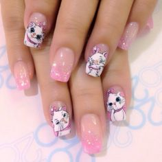 17 Unique & lovely Summer Nail Art Ideas - Bringyourideastolife All of the designs that you will see here are beautiful and amazing. Pick your next nail art design! Disney Acrylic Nails, Disney Nails, Beautiful Nail Designs, Cool Nail Designs, Fabulous Nails, Perfect Nails, Cat Nails, Winter Nail Designs, Cute Nail Art