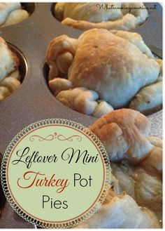 Leftover Turkey Dinner Mini Pot Pies Recipe  |  whatscookingamerica.net  #leftover #turkey #pot #pie #thanksgiving