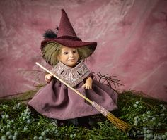 Tiny witch BJD doll. Art doll, ooak. Full body porcelain ball jointed doll by LegendLand Dolls