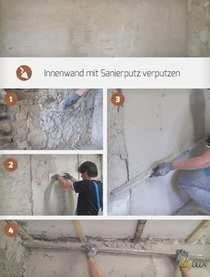 When plastering a wall, technology is required! We show how and what to work with to plaster an interior wall with restoration plaster. Diy Interior, Interior Walls, Basement Renovations, Home Remodeling, China Cabinet Makeovers, Diy Crafts For Teen Girls, Diy Kitchen Remodel, Old Kitchen, Living Room Remodel