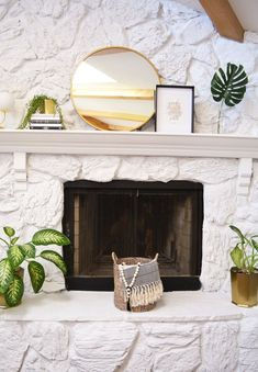 Stone fireplace painted transformation using Jolie chalk paint Whitewash Stone Fireplace, Stone Fireplace Mantles, White Stone Fireplaces, Stone Fireplace Makeover, Fireplace Update, Paint Fireplace, White Fireplace, Fireplace Remodel, Fireplace Ideas