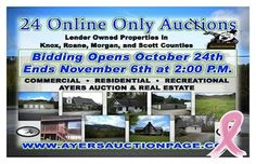 24 Online Only bank owned properties at auction.  Auction ends Nov. 6th.  Commercial, Residential, Recreational. Ayers Auction & Real Estate, Oneida, Tn. 37841, Lic#3949, 423-569-7922.  10% buyers premium on all purchases.