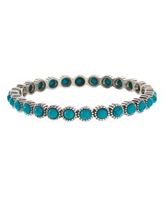 Loving this Turquoise & Silvertone Rope Stone Bangle on #zulily! #zulilyfinds