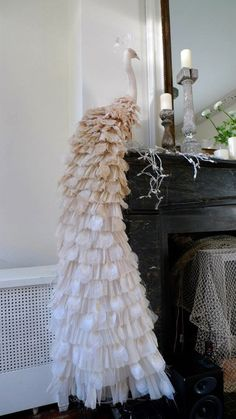 handcrafted revelry - white peacock from ruffles and textiles