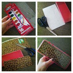 Video tutorial on diy magnetic makeup holder using watercolor box