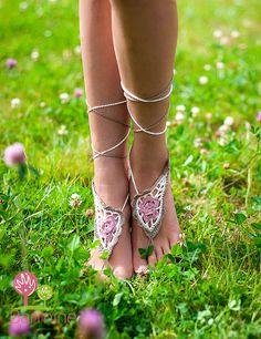 Paisley Crochet descalzo zapatos de Desnudo sandalias por barmine