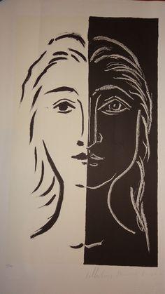 Pablo Picasso (1881-1973) The Portrait in Two Parts Black and White (Portrait en…