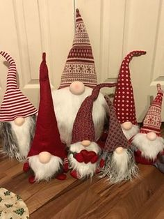"""I wanted to share our collection of Christmas gnomes. They are called Nisse (Norwegian) or Tomte (Swedish). Tomte literally means """"Homestead Man"""" so I thought it would be fitting to post a photo of them here.  In Swedish culture the Tomte resides in the pantry or barn and watches over the household and farm. He is responsible for the care of the farm animals. The Tomte has an enormous capacity for work but will not tolerate anyone's interference. (Erin Leggat, Canada)"""