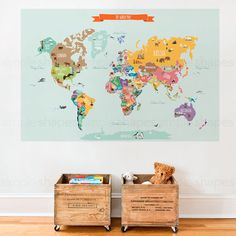 World Map Decal, Countries of the World Map, Kids Country World Map Poster,  Peel and Stick  Poster Sticker, World Map W1126 by SimpleShapes on Etsy https://www.etsy.com/listing/289733859/world-map-decal-countries-of-the-world