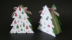 ideas for folded paper tree stamp sets Christmas Tree With Gifts, Christmas Paper Crafts, Stampin Up Christmas, Christmas Games, Christmas Crafts, Christmas Ornaments, Christmas Christmas, Christmas Ideas, Large Gift Boxes