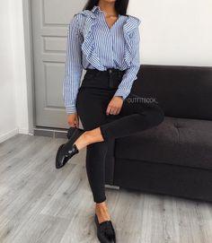 para trabalhar: camisa, calça cintura alta e mule