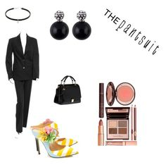 """pantsuit"" by ilv2sing ❤ liked on Polyvore featuring CÉLINE, Giannico, Miu Miu and thepantsuit"