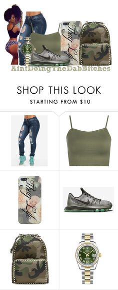 """Down in the DM (Remix)"" by thailyn-nicole ❤ liked on Polyvore featuring WearAll, NIKE, Valentino and Rolex"