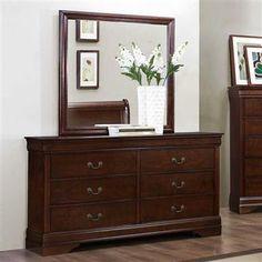 Mayville Brown Cherry Wood Dresser And Mirror