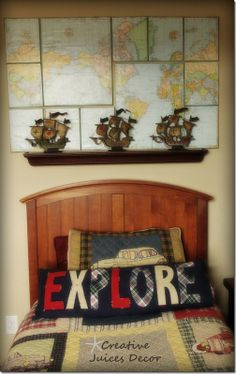 Pirate Room Decor Wall Mast With Sails And Rigging And