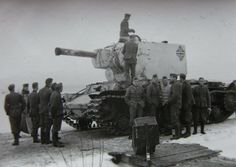One of the few examples of a captured KV-2 tank troops of the Wehrmacht. Winter 1942, Eastern front