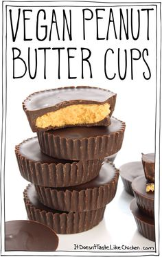 Vegan Peanut Butter Cups Vegan Peanut Butter Cups are so easy to make and they taste just like Reese's! A great recipe for Easter Christmas or just when you are craving chocolate. The post Vegan Peanut Butter Cups appeared first on Vegan. Healthy Vegan Dessert, Coconut Dessert, Vegan Dessert Recipes, Vegan Treats, Vegan Foods, Vegan Snacks, Great Vegan Recipes, Healthy Food, Vegan Lunches