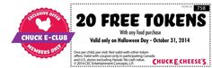 Chuck E Cheese printable coupons and Chuck E Cheese deals November 2014 have savings for tokens, food, drink discounts, win FREE Chuck E Cheese's tickets with these online games. Chuck E Cheese's Coupon Codes