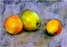 Alma és narancsok . Pasztell , plakátkarton  24 x 37 cm