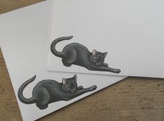 Black cat envelopes set  cute animal stationery by XiaoYanZi