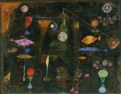 Paul Klee. Fish Magic. 1925. Oil and watercolor on canvas on panel. Philadelphia Museum of Art, Philadelphia, Pennsylvania. Klee worked with Kandinsky, teaching at the Bauhaus school of design. His works often feature primitive objects, sometimes abstract, that resemble cave drawings.