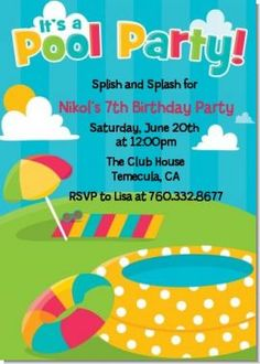 Pool Party - Birthday Party Invitations