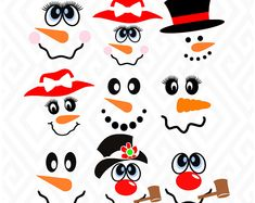 Set of Cute Snowman Faces; SVG, DXF, EPS, Ai, Png, Jpeg and Pdf Digital Files for Electronic Cutting Machines