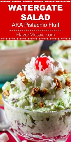 This Watergate Salad also known as Pistachio Salad Pistachio Delight or Pistachio Fluff or Green Fluff is a sweet cool crunchy dessert made with pistachio pudding whipped topping crushed pineapple mini marshmallows pecans and coconut. Fluff Desserts, Jello Desserts, Dessert Salads, Delicious Desserts, Yummy Food, Jello Salads, Cold Desserts, Fruit Salads, Pistachio Fluff