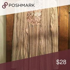 Beautiful Sweater Coverup Tan in Color with A Crochet Look Sweaters