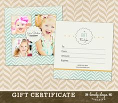 free photography gift certificate template photoshop - Google Search