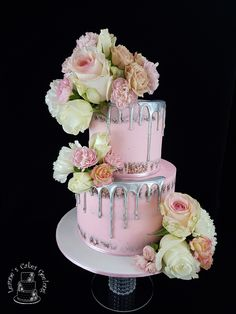 Drip cake: Pretty in pink for Brittany's 18th. This semi-naked vanilla cake with silver drip has goreous fresh florals added by myself. www.facebook.com/cakesbyleannerhodes