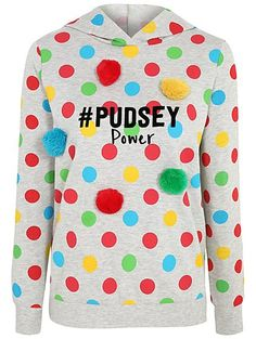 Children In Need Pudsey Power Pom Pom Hoodie Children In Need Clothes, Grey Hoodie, Fundraising, Festivals, Charity, Bear, Hoodies, Long Sleeve, Fabric