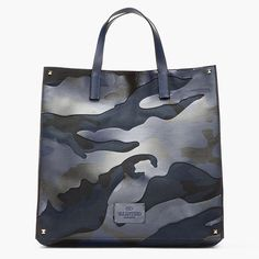 Blue & Black Leather-paneled Camouflage Tote by Valentino