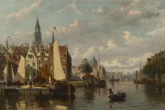 Johannes Frederik Hulk 1829-1911, Amsterdams havengezicht, olie op doek