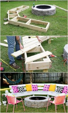 Diy Circle Bench Around Your Fire Pit Garden Pallet Projects Ideas Grills, Bbq Fire Pits Patio Outdoor Furniture - My Backyard Now Fire Pit Bench, Fire Pit Patio, Fire Pit Seating, Diy Fire Pit, Seating Areas, Fire Pit Bbq, Fire Pit Chairs, Backyard Projects, Outdoor Projects